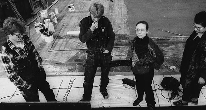 Gunilla Palmstierna-Weiss under arbetet med Kung Lear, Dramaten 1984. Foto Beata Bergström